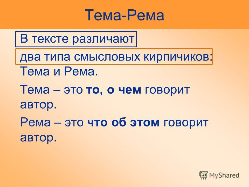 Тема-Рема В тексте различают два типа смысловых кирпичиков: Тема и Рема. Тема – это то, о чем говорит автор. Рема – это что об этом говорит автор.