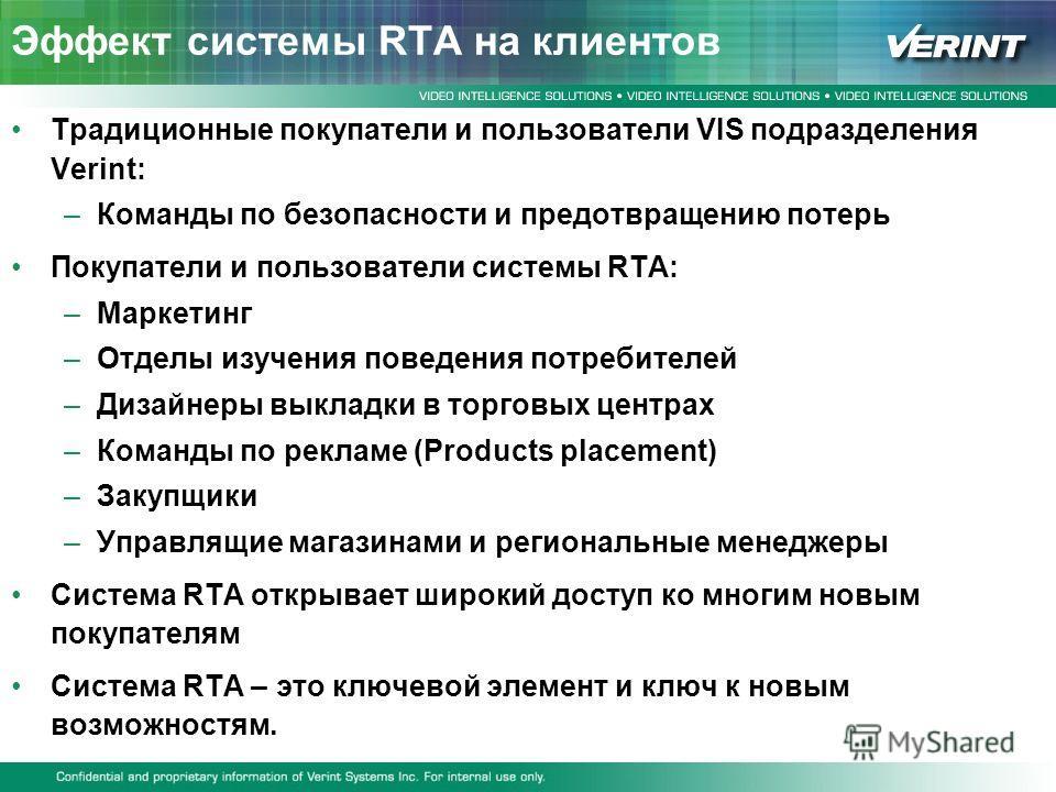 Эффект системы RTA на клиентов Традиционные покупатели и пользователи VIS подразделения Verint: –Команды по безопасности и предотвращению потерь Покупатели и пользователи системы RTA: –Маркетинг –Отделы изучения поведения потребителей –Дизайнеры выкл