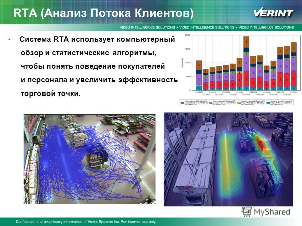 RTA (Анализ Потока Клиентов) Система RTA использует компьютерный обзор и статистические алгоритмы, чтобы понять поведение покупателей и персонала и увеличить эффективность торговой точки.