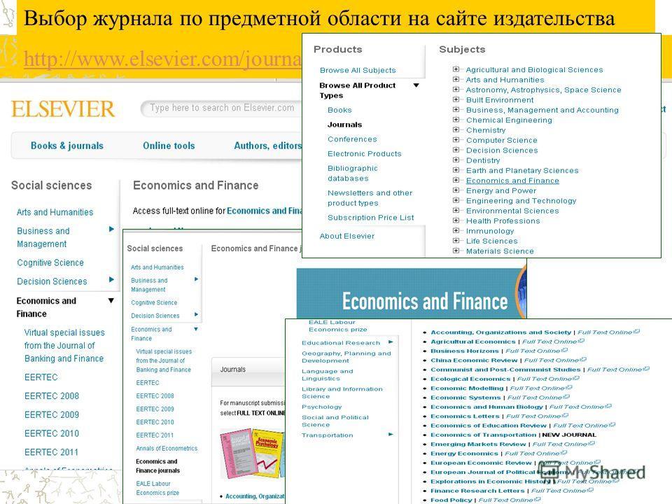 Выбор журнала по предметной области на сайте издательства http://www.elsevier.com/journals/subjects