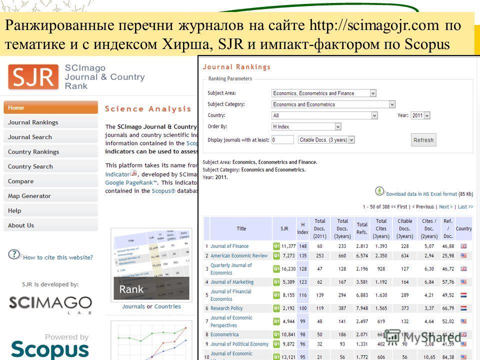 Ранжированные перечни журналов на сайте http://scimagojr.com по тематике и с индексом Хирша, SJR и импакт-фактором по Scopus