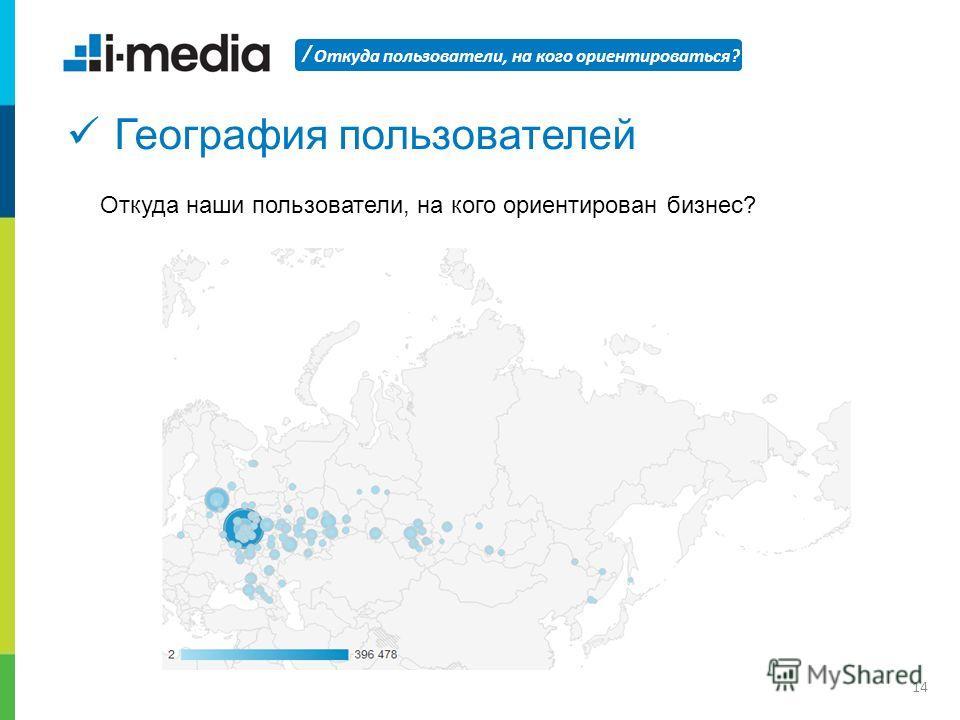 / Откуда пользователи, на кого ориентироваться? 14 География пользователей Откуда наши пользователи, на кого ориентирован бизнес?