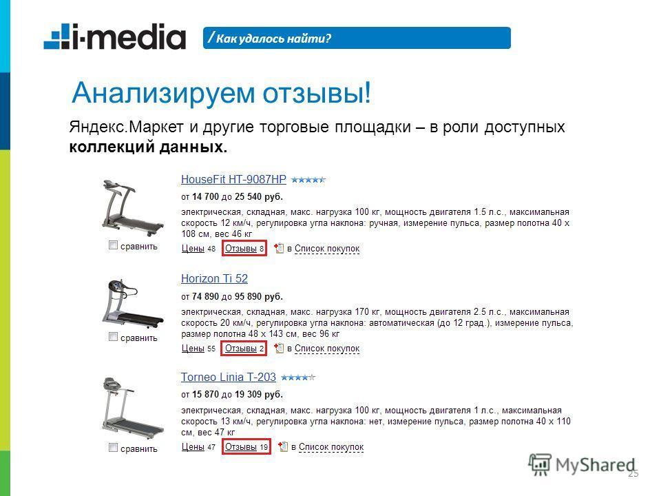 / Как удалось найти? 25 Анализируем отзывы! Яндекс.Маркет и другие торговые площадки – в роли доступных коллекций данных.