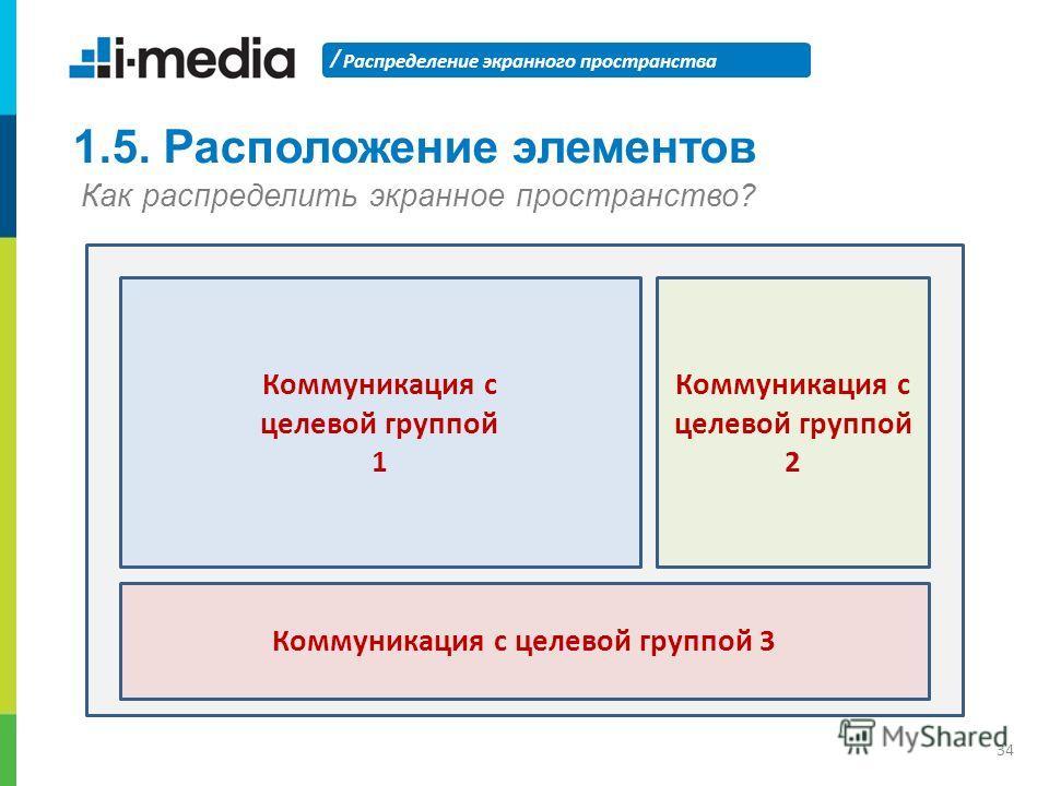 / Распределение экранного пространства 34 1.5. Расположение элементов Как распределить экранное пространство? Коммуникация с целевой группой 1 Коммуникация с целевой группой 2 Коммуникация с целевой группой 3