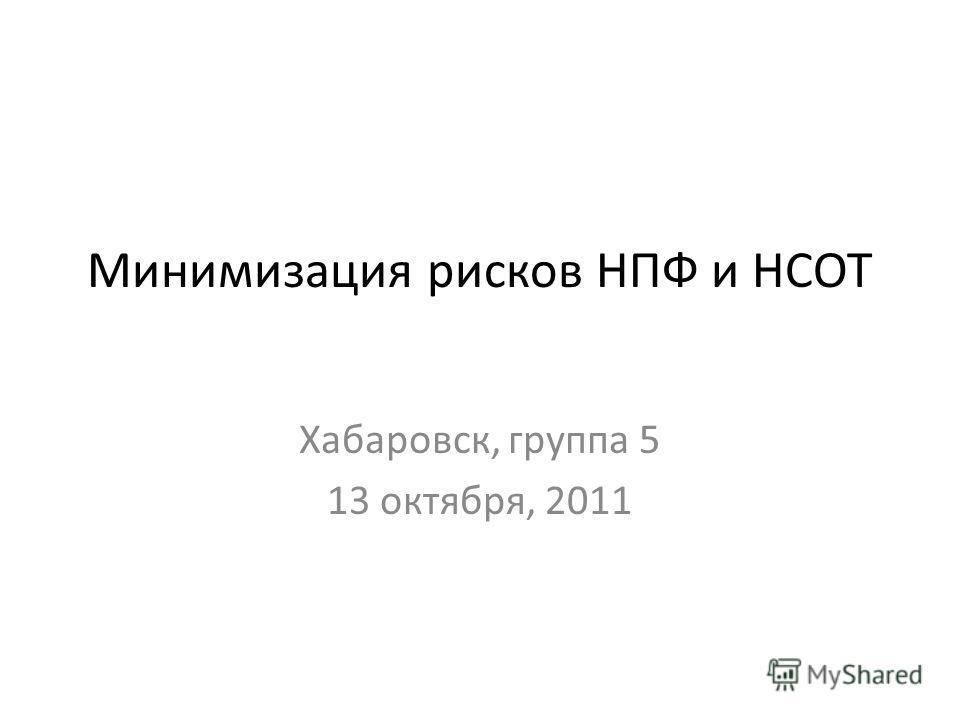 Минимизация рисков НПФ и НСОТ Хабаровск, группа 5 13 октября, 2011