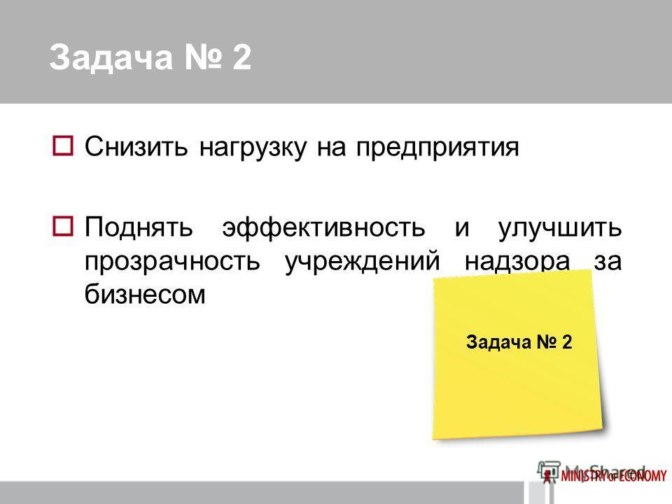 Задача 2 Снизить нагрузку на предприятия Поднять эффективность и улучшить прозрачность учреждений надзора за бизнесом Задача 2