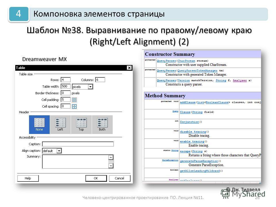 Человеко-центрированное проектирование ПО. Лекция 11.26 © Дж. Тидвелл Шаблон 38. Выравнивание по правому/левому краю (Right/Left Alignment) (2) Компоновка элементов страницы 4 Dreamweaver MX