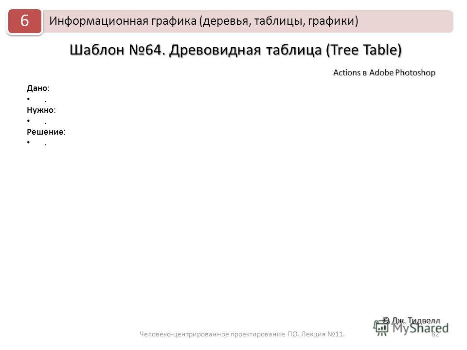 Человеко-центрированное проектирование ПО. Лекция 11.82 © Дж. Тидвелл Шаблон 64. Древовидная таблица (Tree Table) Дано:. Нужно:. Решение:. Actions в Adobe Photoshop Информационная графика (деревья, таблицы, графики) 6