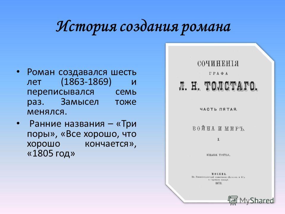 История создания романа Роман создавался шесть лет (1863-1869) и переписывался семь раз. Замысел тоже менялся. Ранние названия – «Три поры», «Все хорошо, что хорошо кончается», «1805 год»