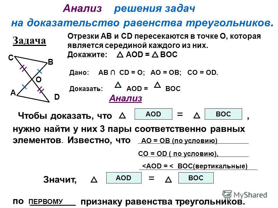 Анализ решения задач на доказательство равенства треугольников. Чтобы доказать, что AOD = BOC нужно найти у них 3 пары соответственно равных элементов. Известно, что AO = OB (по условию) CO = OD ( по условию),