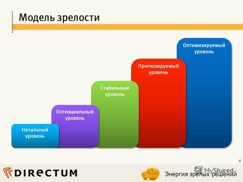 Энергия зрелых решений 4 Оптимизируемый уровень Прогнозируемый уровень Стабильный уровень Потенциальный уровень Модель зрелости Начальный уровень