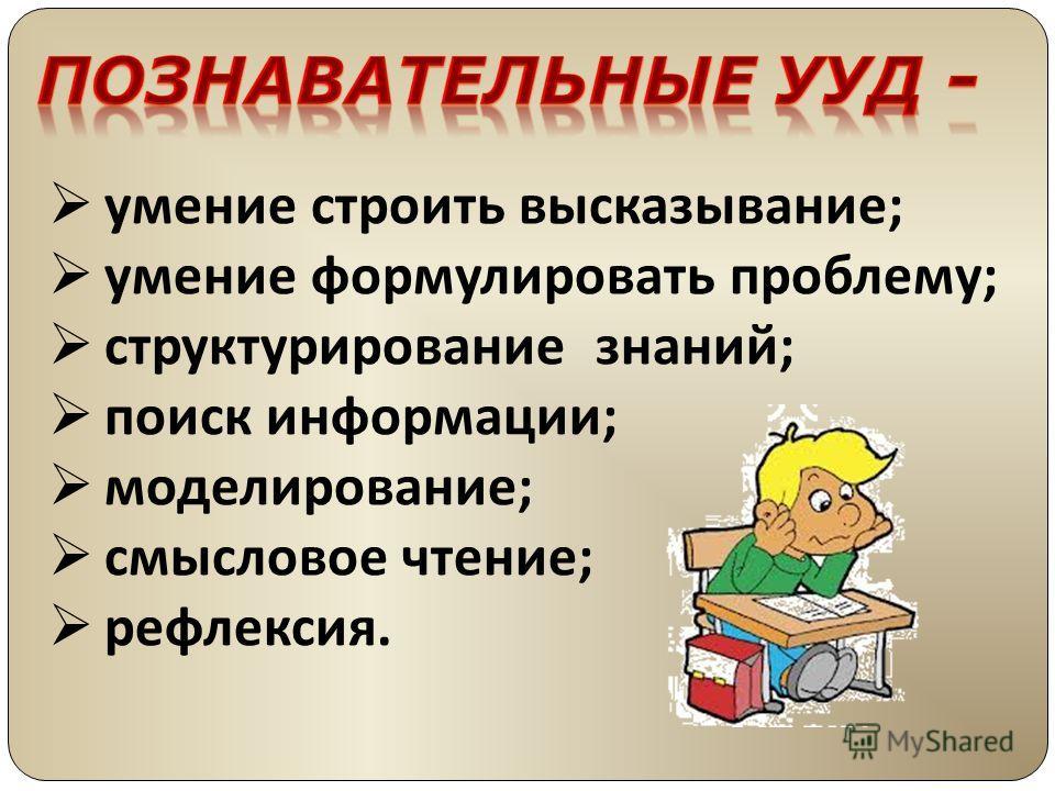 умение строить высказывание; умение формулировать проблему; структурирование знаний; поиск информации; моделирование; смысловое чтение; рефлексия.