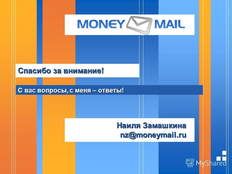 Спасибо за внимание! С вас вопросы, с меня – ответы! Наиля Замашкина nz@moneymail.ru