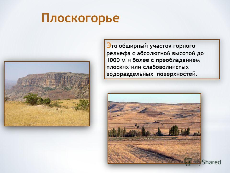 Э то обширный участок горного рельефа с абсолютной высотой до 1000 м и более с преобладанием плоских или слабоволнистых водораздельных поверхностей. Плоскогорье
