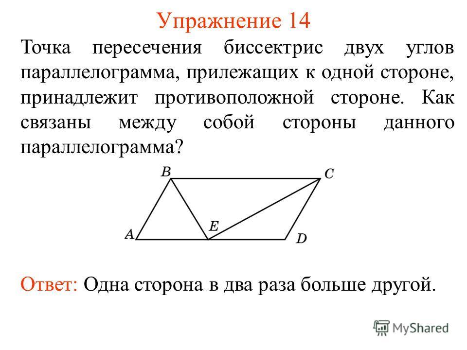 Упражнение 14 Точка пересечения биссектрис двух углов параллелограмма, прилежащих к одной стороне, принадлежит противоположной стороне. Как связаны между собой стороны данного параллелограмма? Ответ: Одна сторона в два раза больше другой.