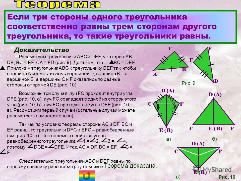 Если три стороны одного треугольника соответственно равны трем сторонам другого треугольника, то такие треугольники равны. Доказательство Рассмотрим треугольники ABC и DEF, у которых AB = DE, BC = EF, CA = FD (рис. 9). Докажем, что ABC = DEF. Приложи