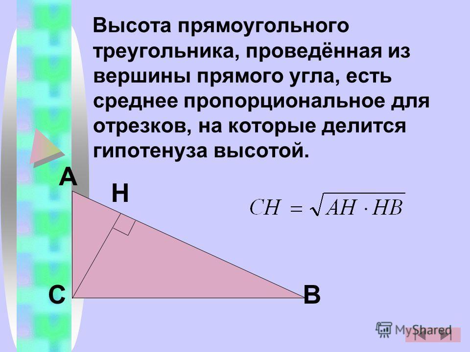 Высота прямоугольного треугольника, проведённая из вершины прямого угла, есть среднее пропорциональное для отрезков, на которые делится гипотенуза высотой. С А Н В