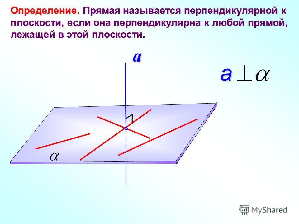 Определение. Прямая называется перпендикулярной к плоскости, если она перпендикулярна к любой прямой, лежащей в этой плоскости. a a