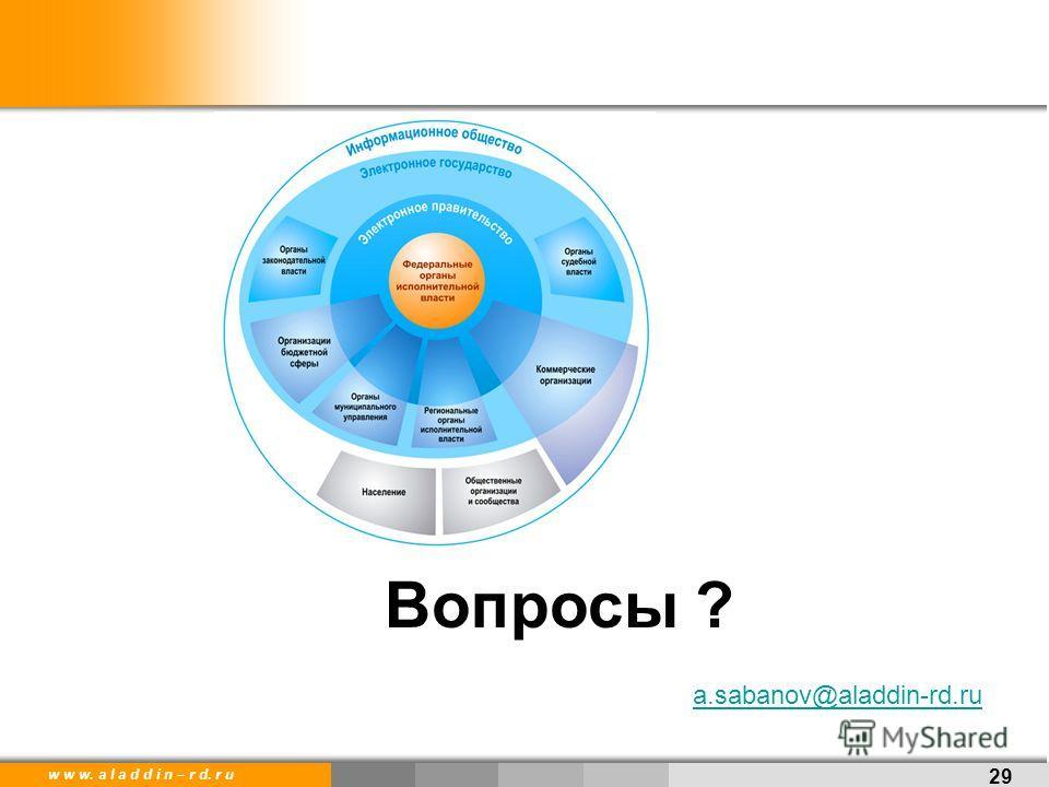 w w w. a l a d d i n – r d. r u 29 Вопросы ? a.sabanov@aladdin-rd.ru