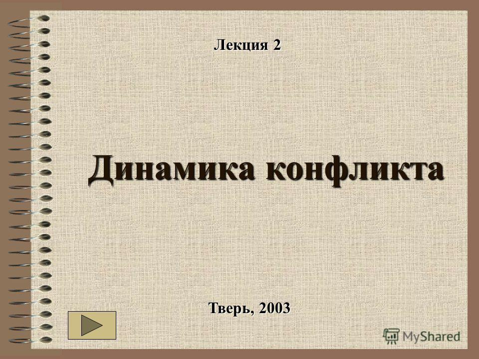 Динамика конфликта Динамика конфликта Тверь, 2003 Лекция 2