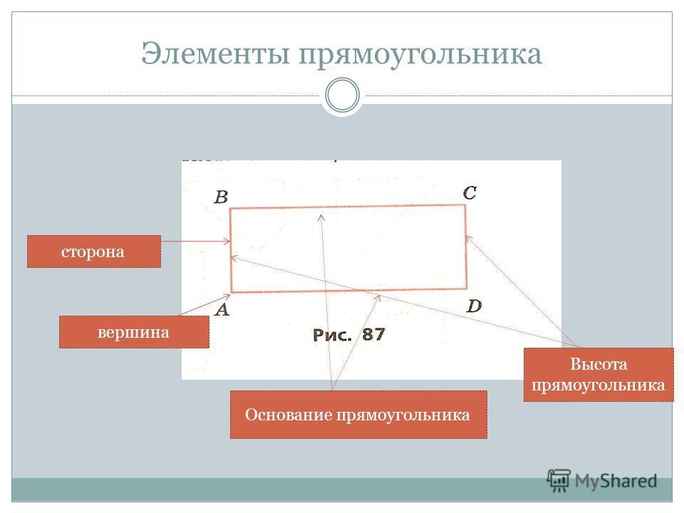 Элементы прямоугольника сторона вершина Основание прямоугольника Высота прямоугольника