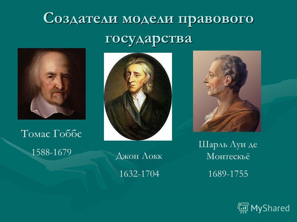 Создатели модели правового государства Томас Гоббс 1588-1679 Джон Локк 1632-1704 Шарль Луи де Монтескьё 1689-1755
