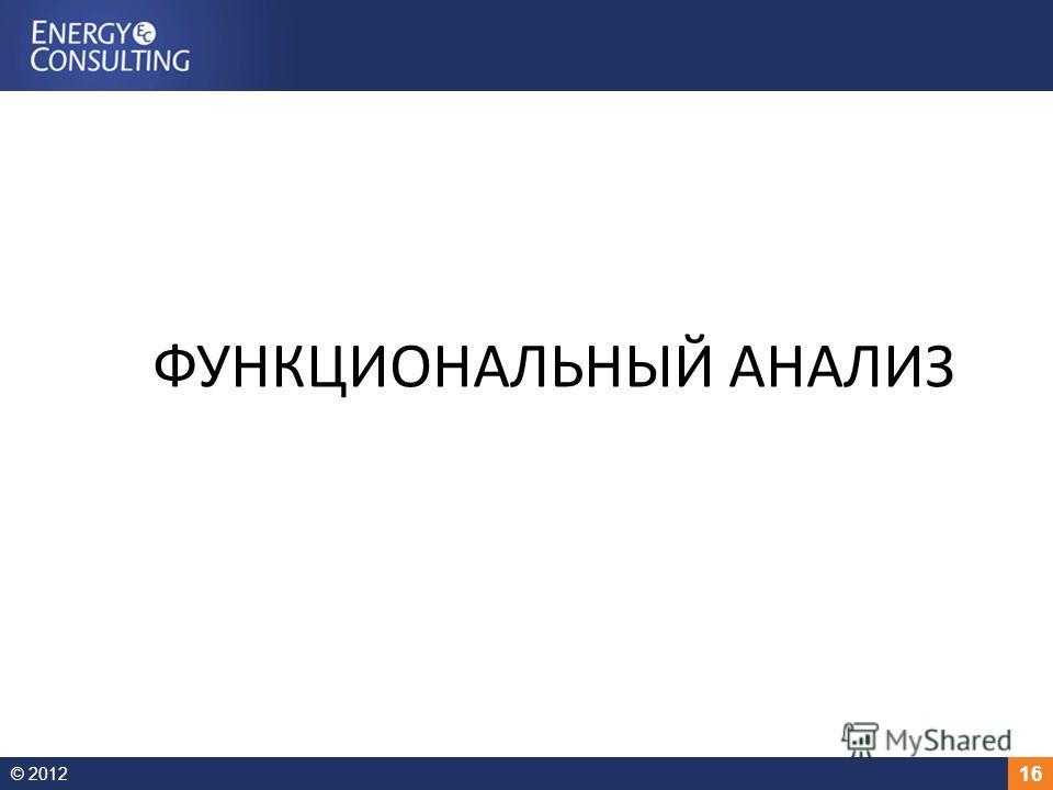 © 2012 16 ФУНКЦИОНАЛЬНЫЙ АНАЛИЗ