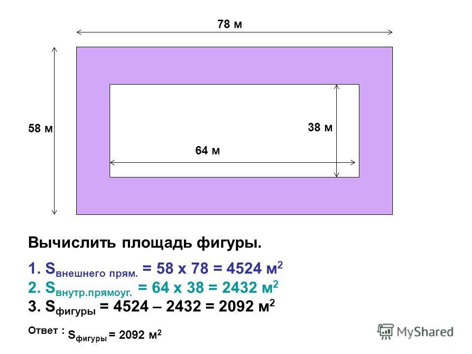 58 м 78 м 64 м 38 м Вычислить площадь фигуры. 1. S внешнего прям. = 58 х 78 = 4524 м 2 2. S внутр.прямоуг. = 64 х 38 = 2432 м 2 3. S фигуры = 4524 – 2432 = 2092 м 2 Ответ : S фигуры = 2092 м 2