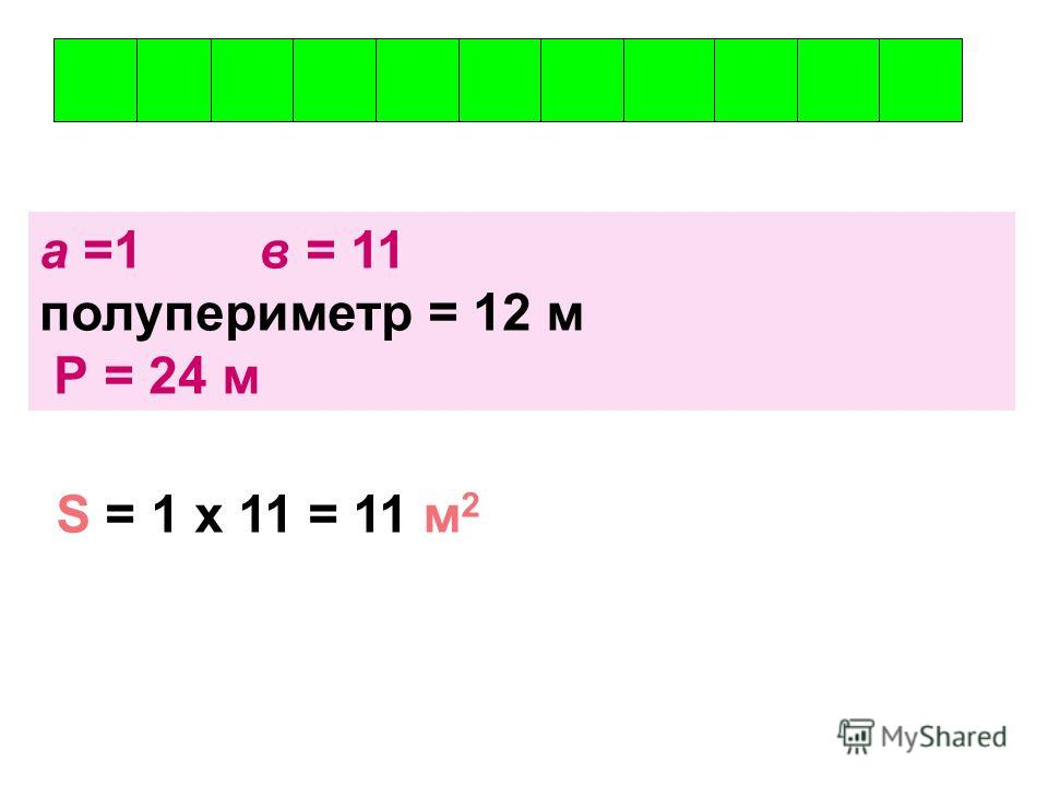 а =1 в = 11 полупериметр = 12 м Р = 24 м S = 1 х 11 = 11 м 2