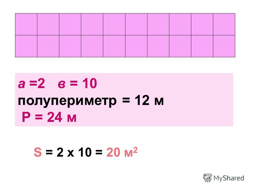 а =2 в = 10 полупериметр = 12 м Р = 24 м S = 2 х 10 = 20 м 2