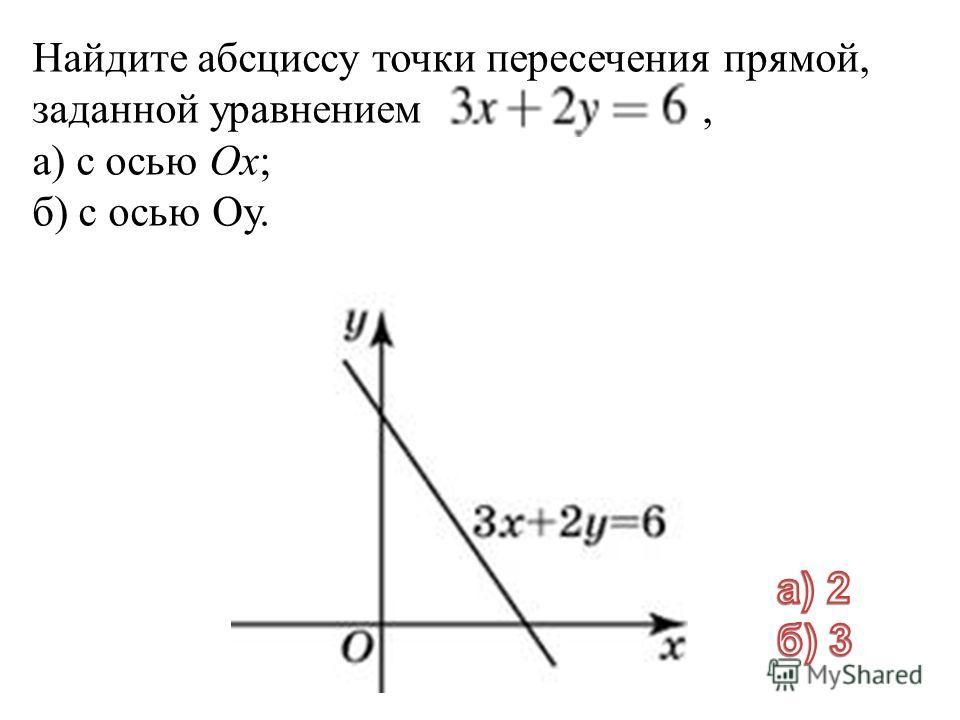 Найдите абсциссу точки пересечения прямой, заданной уравнением, а) с осью Ox; б) с осью Oy.