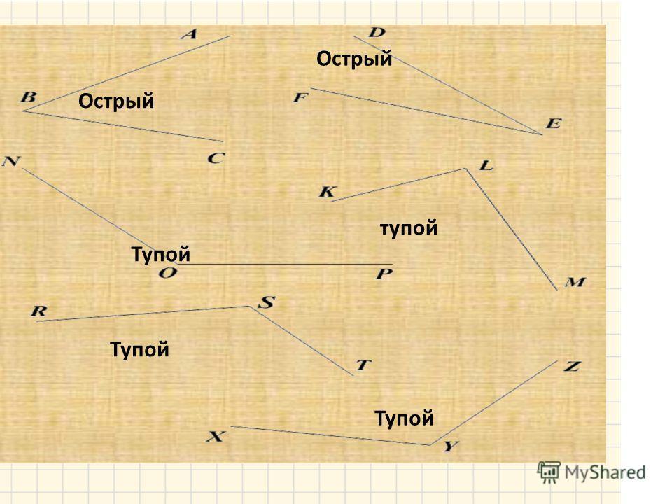 острый прямойтупой 4. Проверить, соответствует ли полученная мера угла его виду