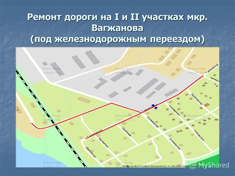 Ремонт дороги на I и II участках мкр. Вагжанова (под железнодорожным переездом)