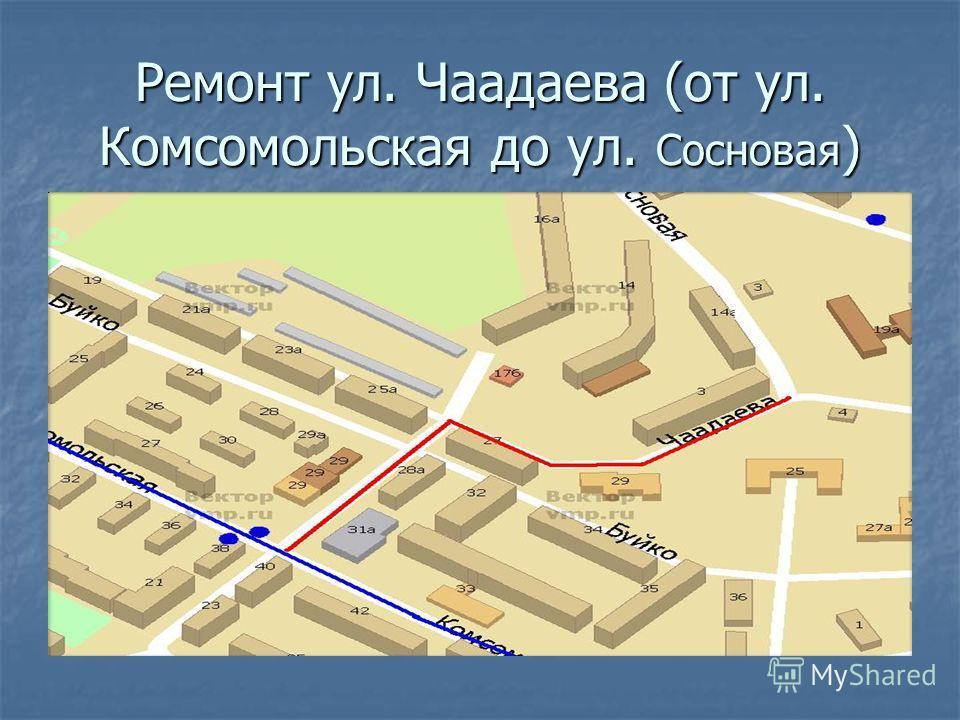 Ремонт ул. Чаадаева (от ул. Комсомольская до ул. Сосновая )