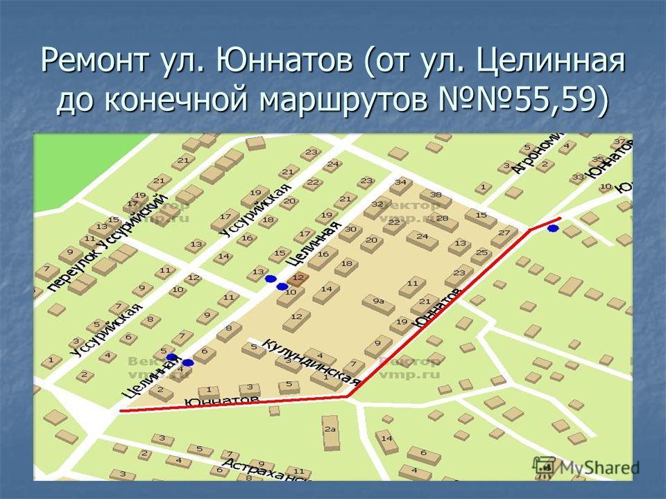 Ремонт ул. Юннатов (от ул. Целинная до конечной маршрутов 55,59)