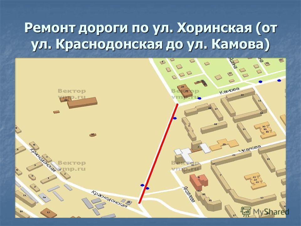 Ремонт дороги по ул. Хоринская (от ул. Краснодонская до ул. Камова)