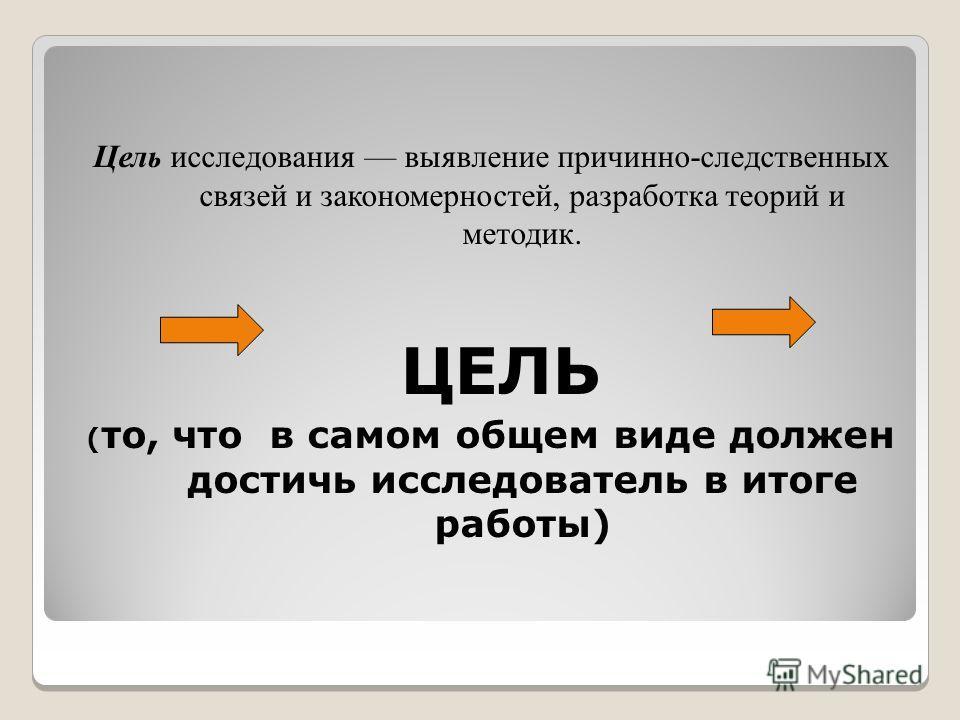 Цель исследования выявление причинно-следственных связей и закономерностей, разработка теорий и методик. ЦЕЛЬ ( то, что в самом общем виде должен достичь исследователь в итоге работы)