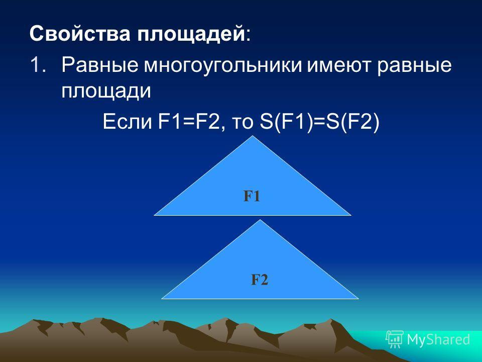Свойства площадей: 1.Равные многоугольники имеют равные площади Если F1=F2, то S(F1)=S(F2) F1 F2F2