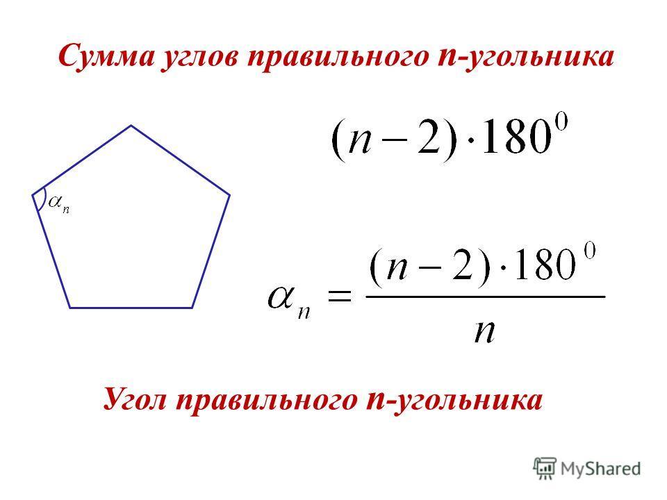 Сумма углов правильного n -угольника Угол правильного n -угольника