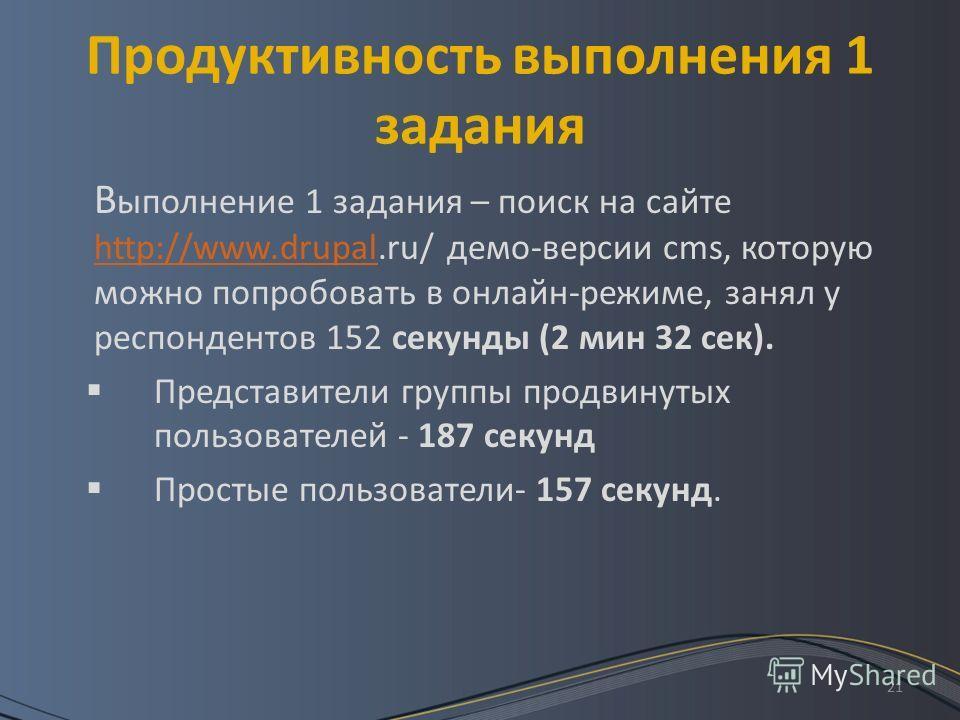 21 Продуктивность выполнения 1 задания В ыполнение 1 задания – поиск на сайте http://www.drupal.ru/ демо-версии cms, которую можно попробовать в онлайн-режиме, занял у респондентов 152 секунды (2 мин 32 сек). http://www.drupal Представители группы пр