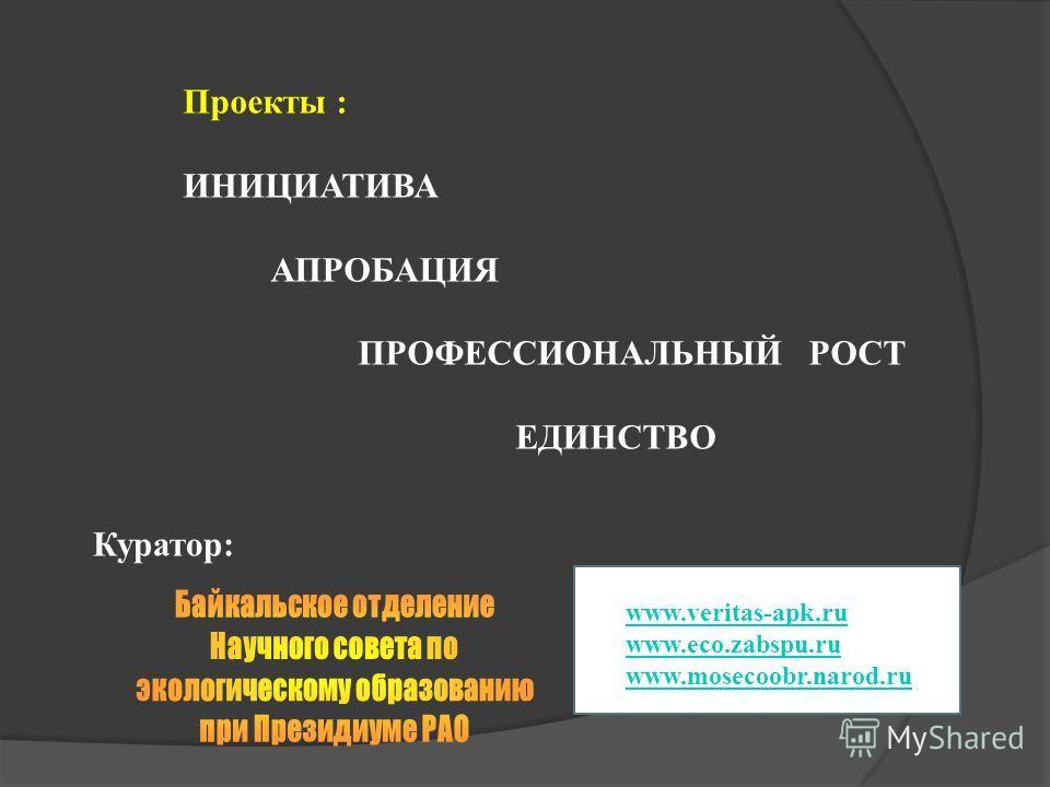 Проекты : ИНИЦИАТИВА АПРОБАЦИЯ ПРОФЕССИОНАЛЬНЫЙ РОСТ ЕДИНСТВО Куратор: www.veritas-apk.ru www.eco.zabspu.ru www.mosecoobr.narod.ru