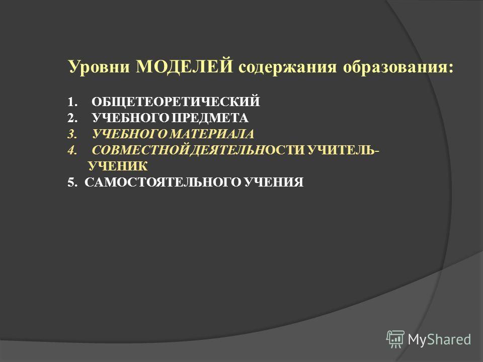 Уровни МОДЕЛЕЙ содержания образования: 1.ОБЩЕТЕОРЕТИЧЕСКИЙ 2.УЧЕБНОГО ПРЕДМЕТА 3.УЧЕБНОГО МАТЕРИАЛА 4.СОВМЕСТНОЙ ДЕЯТЕЛЬНОСТИ УЧИТЕЛЬ- УЧЕНИК 5. САМОСТОЯТЕЛЬНОГО УЧЕНИЯ