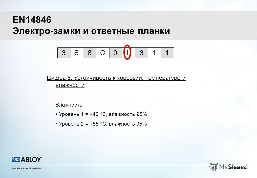 Цифра 6: Устойчивость к коррозии, температуре и влажности 0L318CS31 Влажность Уровень 1 = +40 o C, влажность 95% Уровень 2 = +55 o C, влажность 95% EN14846 Электро-замки и ответные планки