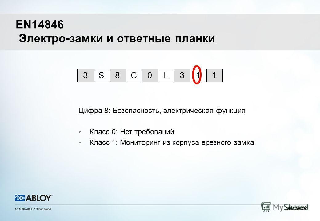 Цифра 8: Безопасность, электрическая функция Класс 0: Нет требований Класс 1: Мониторинг из корпуса врезного замка 0L318CS3 1 EN14846 Электро-замки и ответные планки