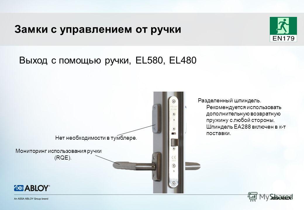 Выход с помощью ручки, EL580, EL480 Нет необходимости в тумблере. Мониторинг использования ручки (RQE). Разделенный шпиндель. Рекомендуется использовать дополнительную возвратную пружину с любой стороны. Шпиндель EA288 включен в к-т поставки. Замки с