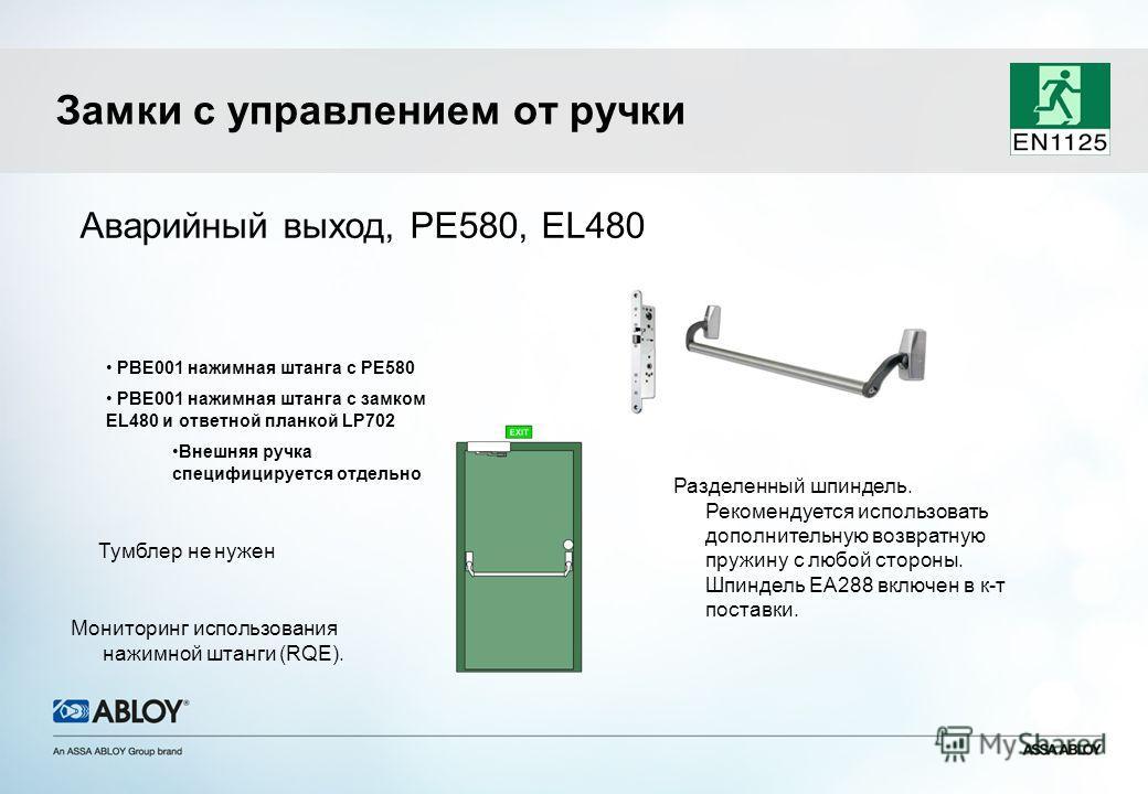 Аварийный выход, PE580, EL480 Тумблер не нужен PBE001 нажимная штанга с PE580 PBE001 нажимная штанга с замком EL480 и ответной планкой LP702 Внешняя ручка специфицируется отдельно Замки с управлением от ручки Мониторинг использования нажимной штанги