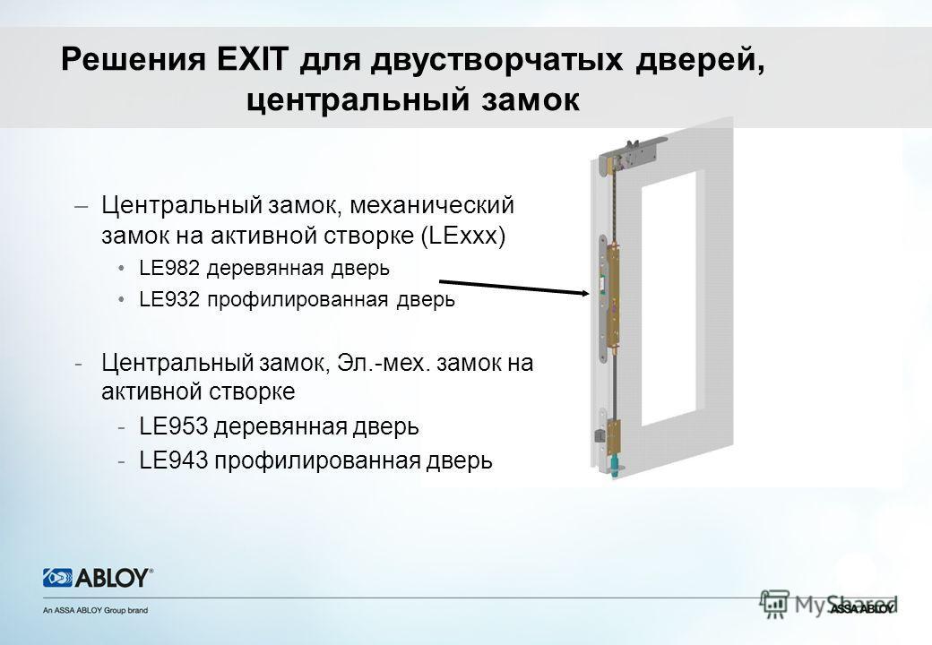 –Центральный замок, механический замок на активной створке (LExxx) LE982 деревянная дверь LE932 профилированная дверь -Центральный замок, Эл.-мех. замок на активной створке -LE953 деревянная дверь -LE943 профилированная дверь Решения EXIT для двуство