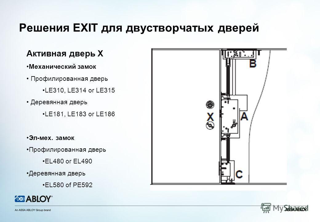 Решения EXIT для двустворчатых дверей Активная дверь X Механический замок Профилированная дверь LE310, LE314 or LE315 Деревянная дверь LE181, LE183 or LE186 Эл-мех. замок Профилированная дверь EL480 or EL490 Деревянная дверь EL580 of PE592