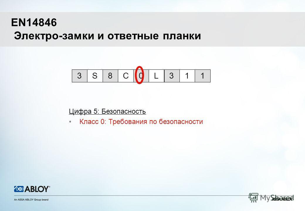EN14846 Электро-замки и ответные планки Цифра 5: Безопасность Класс 0: Требования по безопасности 0L318CS3 1