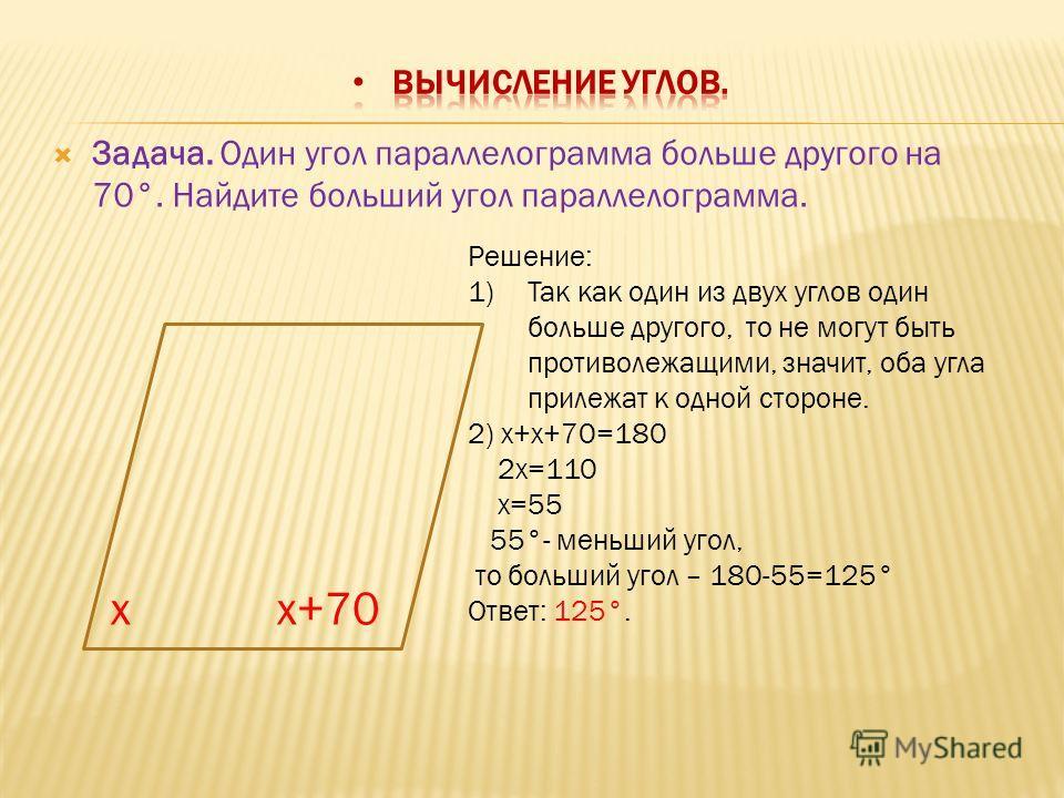 Задача. Один угол параллелограмма больше другого на 70°. Найдите больший угол параллелограмма. xx+70 Решение: 1)Так как один из двух углов один больше другого, то не могут быть противолежащими, значит, оба угла прилежат к одной стороне. 2) x+x+70=180